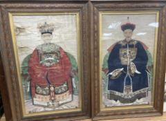 A pair of Chinese painted ancestor portraits, late Qing, 71 x 40cmCONDITION: Provenance - Alfred