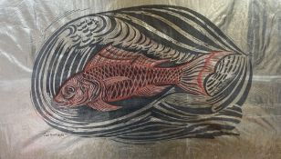 Enid Crystal Dorothy Marx F.R.S.A. (1902-1998), 'Gold Fish', linocut in colours printed on gold