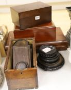 Four violin bows, three wooden humidors, a collection of Chinese wooden stands, etc.