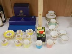 A group of mixed ceramics, including a Wedgwood white-glazed strawberry set, a three boxed items