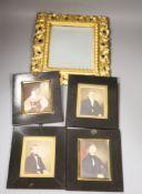 Four 19th century miniature portraits and a gilt-framed mirror