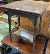 An Edwardian mahogany blind fret folding tea table, width 52cm, depth 37cm, height 69cm