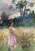 Mikhael Krievenko, oil on card, 'Evening Sunset', inscribed verso, 50 x 35m, unframed