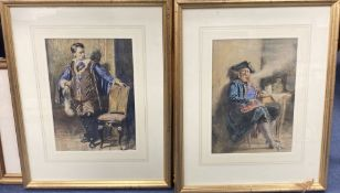 F.W.H circa 1900, pair of watercolours, 17th century sea captain and gallant, one initialled, 31 x
