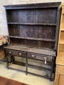 A Welsh oak dresser, width 148cm, depth 39cm, height 196cm