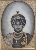 Indian School, watercolour, gouache and gilt on paper, Portrait of a nobleman, 15 x 10.5cm