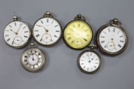 Three assorted silver pocket watches, a white metal pocket watch and two similar fob watches (a.
