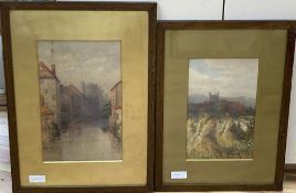English School c.1900, two watercolours, Westgate Tower, River Stour, Canterbury, and St Leonard's