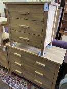 Two modern contemporary oak three-drawer chests, larger width 105cm, depth 45cm, height 77cm