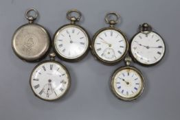 Six assorted continental white metal fob watches (a.f.).