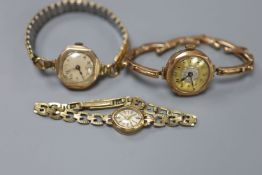 Three 9ct gold-cased ladys' wristwatches, one with 9ct gold marked bracelet (latter gross 11.5