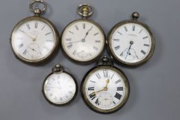 Two silver pocket watches including late Victorian and three other white metal pocket/fob watches(