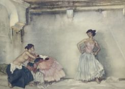 Sir William Russell Flint, limited edition print, Interior with two models, signed in pencil, 48 x