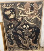 A Batik panel printed with stylised dancing figures, indistinctly signed, 122 x 88cm