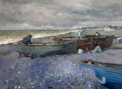 Miles '73, watercolour, Fishermen and boats on the shore, signed and dated, 51 x 70cm