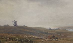 Vivian Rolt (1874-1933), watercolour, Sheep and windmill on the South Downs overlooking Shoreham,