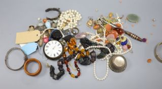 Mixed costume jewellery etc. including paste set giardinetto brooch, cut steel bangle, loose stones,