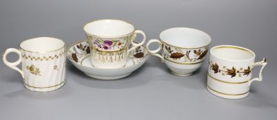 An early 19th century Worcester teacup and saucer painted with brown leaves with a landing insect,