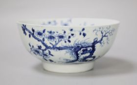 An 18th century Worcester bowl painted with the Prunus Root pattern, workman's mark, diameter