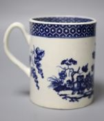 An 18th century Worcester mug printed after Hancock with Parrot Pecking Fruit pattern very rare