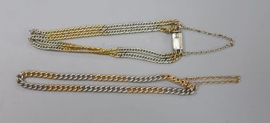 A two colour curblink bracelet, the clasp stamped 18ct, 19cm, gross 10.8 grams and one other