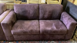 A pair of modern two-seater settees covered in suede, length 170cm, depth 94cm, height 80cm