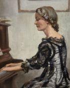 Arthur Royce Bradbury (1892-1977), oil on board, Lady playing the piano, signed, 34 x 27cm