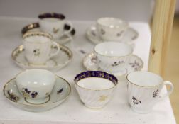 Two Flight trios, two teabowls and saucers and a coffee cup and saucer