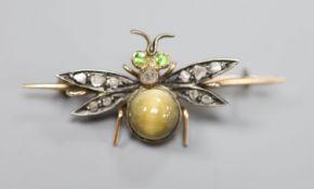 A Victorian yellow metal cat's eye quartz?, garnet and rose cut diamond set bug brooch, overall