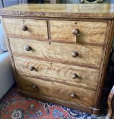 A Victorian satin birch chest of drawers, width 122cm, depth 51cm, height 122cm