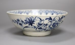 An 18th century Worcester bowl painted with the Peony pattern in blue, Workman's mark in blue to