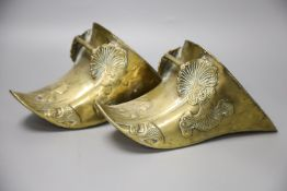 A pair of Spanish colonial brass stirrup shoes, length 26cm