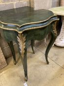 A pair of green painted and gilt console tables, width 65cm, depth 35cm, height 81cm