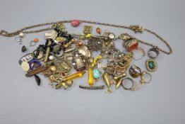 A quantity of assorted mainly 19th century jewellery including mourning brooches, fob seals, stick