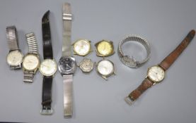 Ten assorted mainly gentleman's wrist watches, including Majex, Ermano and Limit (a.f.).
