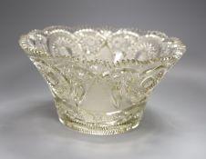 A heavy cut glass bowl, diameter 29cm