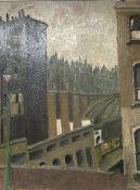 McKnight, oil on board, Street scene, signed, 50 x 38cm, a head study sketch verso