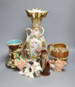 A Continental porcelain vase (converted to electricity) and sundry ceramics, including a model of