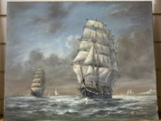 Max Parsons A.R.C.A. (1915-1998), Sailing clippers and other vessels off the coast, signed, oil on