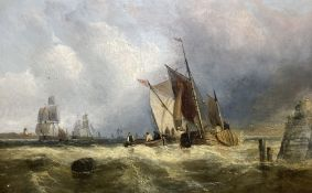 19th century English School, oil on panel, Shipping off the coast, 24 x 38cm