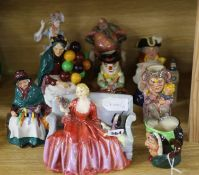One Royal Doulton balloon seller, three other figurines, plus six character jugs