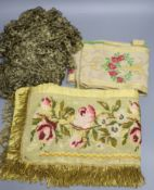 A Lurex 19th century cross stitch pelmet with gold coloured metal bullion fringing, a long French