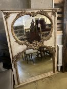 A painted wood and gesso twin plate overmantel mirror, width 114cm height 159cm