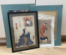 Two late 19th century Japanese woodblock prints depicting Samurai, 37 x 25cm and three other prints