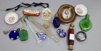 A collection of scent bottles, a miniature antiquity vessel and a miniature of a lady