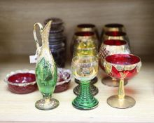 A collection of gilt decorated glasses and a jug, etc