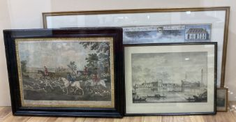 Two 18th century coloured engravings, 'Going to cover' and 'View of Rochester', 37 x 52cm and 38 x