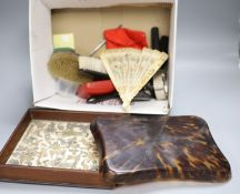 A quantity of mixed collectables including a tortoiseshell tray, a Chinese needlework, a silver