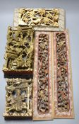 Five Chinese lacquer carved panels, longest 42cm