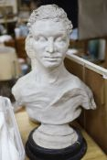 A theatrical plaster bust of a gentleman, height 70cm